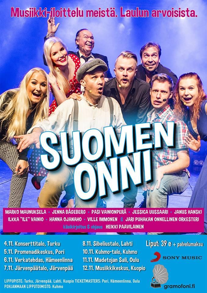 Suomen Onni – revyy kiertueella marraskuussa 2017