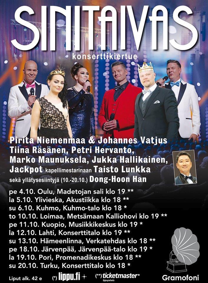 Sinitaivas – kiertue! Lokakuussa 2019